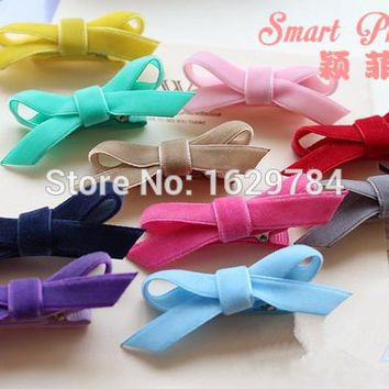 40pcs/10C Fashion Cute Velvet Hair Bow Girls Hairpins Kawaii Solid Candy Color Bowknot Hair Clip Hair Accessories Headware