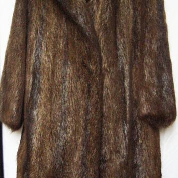 Vintage full length genuine long haired beaver fur women winter coat with shawl collar - mint condition - FREE WORLDWIDE SHIPPING