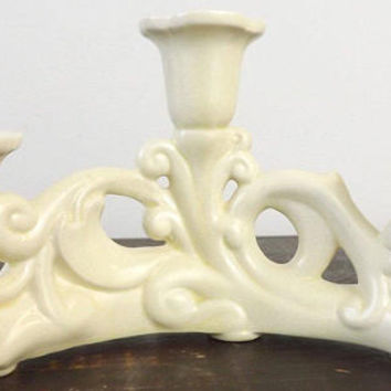 Cowan Art Pottery Ivory Candelabra, Vintage Half Circle Candle Holder, Mid Century 3 Arm Candlestick