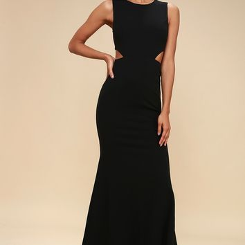 Utterly Smitten Black Cutout Maxi Dress