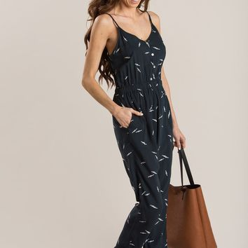 Beatrice Navy Printed Jumpsuit