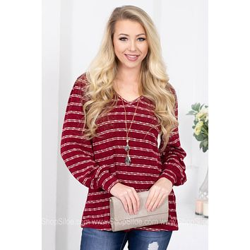 Crimson Wine Striped Top