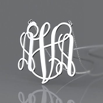 Personalized vine font initial monogram 1.25 inch 925 Sterling Silver necklace,custom necklace