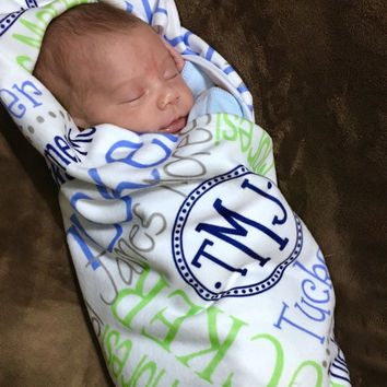 Personalized Baby Blanket Monogrammed Baby Swaddle Blanket Name Blanket Receiving Blanket Photo Prop Baby Shower Gift Birth Announcement