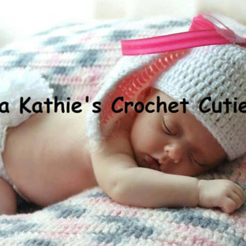 Girls White Crochet Bunny Hat and Diaper Cover Set Photo Prop Sizes from 0 - 9 Months Gift