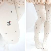 Kawaii Lolita Bow Kitty Cat with Dots Tights -White