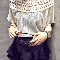 Solid Color Hollow Collar Breathable T-Shirt