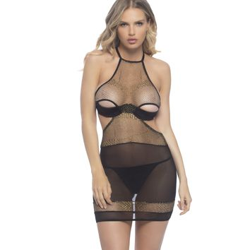 Sheer Black and Gold Crotchless Babydoll Lingerie