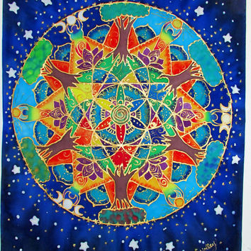 silk wall hanging, Balancing Gaia,mandala art, pagan, goddess art, Gaia, metaphysical, spiritual, chakra,tree of life, sacred Geometry