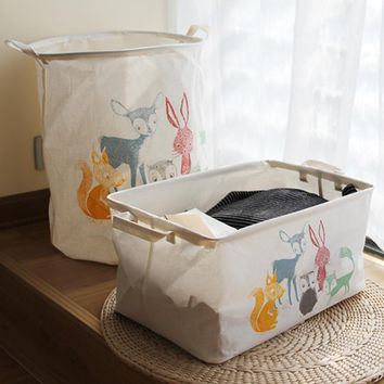 Large 40*50cm Animal World Laundry Basket Waterproof Dirty Clothes Basket Folding Storage Basket Toys Home Storage Barrel/Bucket