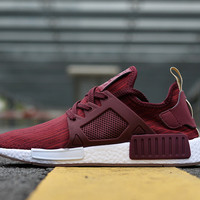 """Adidas"" NMD Women Men Running Sport Casual Shoes Sneakers Wine red"