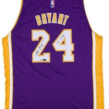 "KOBE BRYANT SIGNED LAKERS PURPLE JERSEY INSCRIBED ""5X CHAMP"" #D/124 COA AUTOGRAPH"