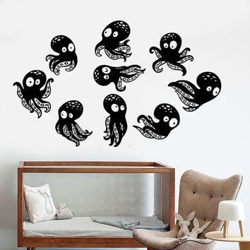 Vinyl Wall Decal Little Funny Octopus Sea Ocean Animal Nursery Stickers Unique Gift (1194ig)