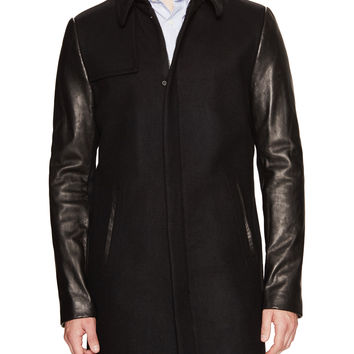 Soia & Kyo Men's Emery Leather Sleeve Wool Carcoat - Black -