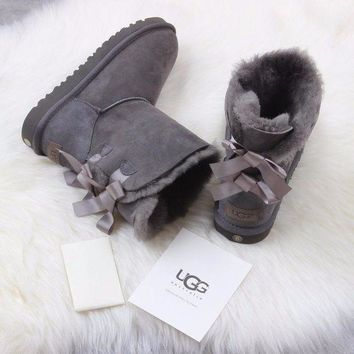LMFNW6 Sale Ugg 1016225 Ribbon Bow Gray Classic Bailey Bow II Boot Snow Boots