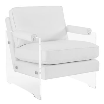 GAVEN WHITE ECO LEATHER AND LUCITE CHAIR