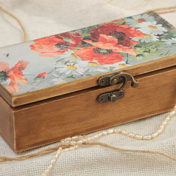 Handmade designer rectangular wooden jewelry box with print on lid Red Poppies