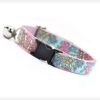 "Cat Collar - ""Garden Party"" - Robin's Egg Blue Mint Floral Pattern on Light Pink"
