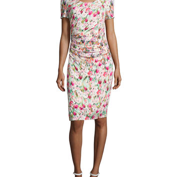 Short-Sleeve Floral-Print Ruched Jersey Dress, Size: