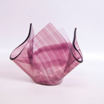 Vintage Amethyst Art Glass Purple Handkerchief Vase Lilac Chance Glass Retro Votive Holder 1960s Candy Dish