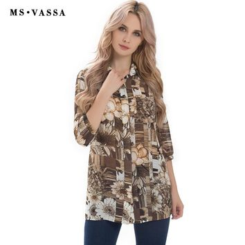 Women Tees Summer Spring Casual T-shirt Three Quarter Sleeve Ladies Tops Town-down Collar Plus Size