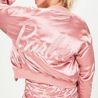 Missguided - Barbie x Missguided Pink Quilted Ring Pull Reversible Satin Bomber Jacket