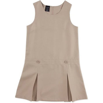 George Girls' School Uniform Drop Waist Pleated Jumper, 4, Warm Beige