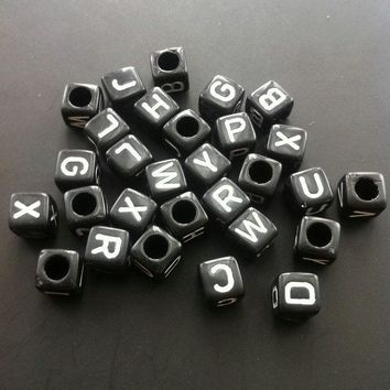 Alphabet Letter Beads - 6mm*6mm - 25pcs - Random Mix