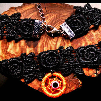 RTS Handmade Dreamcatcher Evil Eye Choker Neon Orange on Black Lace Rose Turkish Eye Necklace Handcrafted Jewelry Holiday Gift Custom Length