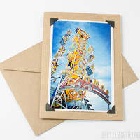 Carnival Ride Photo Card - The Zipper -Ocean City Maryland - 4x6 5x7 Photo Card - Amusement Park Photo - Affordable Photography Print