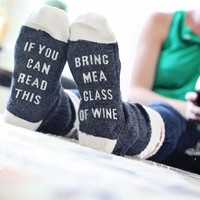 Custom wine socks If You can read this Bring Me Beer me Women Socks Cotton Warm socks