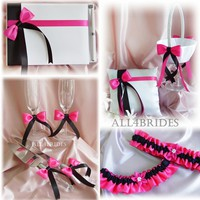 Hot pink black and white wedding accessories collection 9pieces