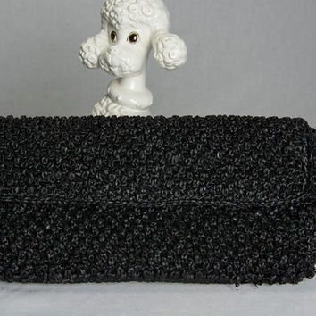 Vintage 60's Atomic Black Pom-pom Clutch Bag Textured Raffia Weave