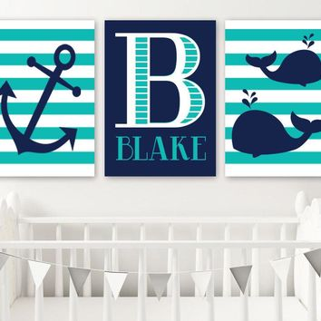 Whale Anchor Wall Art, Nautical Boy Nursery Decor, Navy Turquoise Nautical Art Canvas or Prints, Boy Name Nautical Bedroom Artwork, Set of 3
