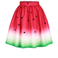 Streetstyle  Casual Watermelon Printed Swing Midi Skirt
