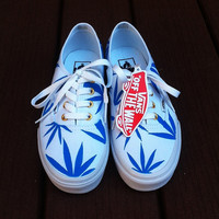 White/Blue Marijuana Leaf Vans