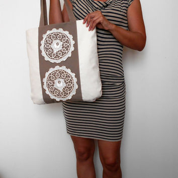 Lace Tote Bag, Canvas Tote Bag, White Brown Tote Bag, Everyday Bag, Canvas Shoulder Bag, Summer Tote bag, Linen Bag