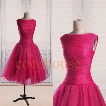 Pink Organza Prom Dresses 2015, Tea Length Bridesmaid Dresses, Fashion Homecoming Dresses, Party Dress,Wedding Party Dresses, Formal Prom