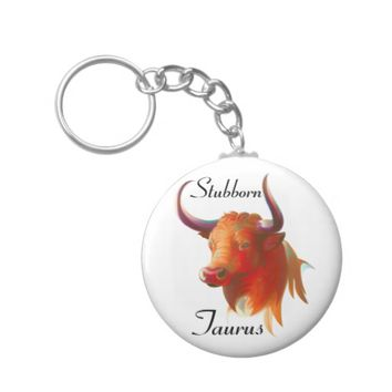 Zodiac Taurus Sign Button Keychain