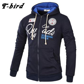 T-Bird Brand 2017 Hoodies Brand Men Letter Printing Sweatshirt Male Hoody Hip Hop Autumn Winter Zipper Hoodie Mens Pullover XXXL