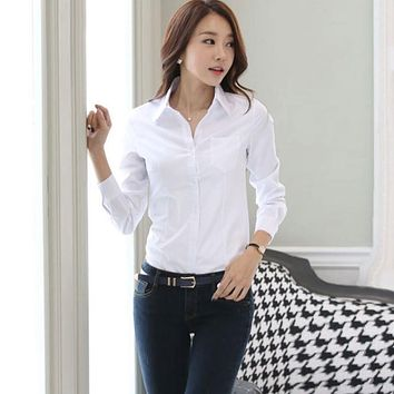 6e3f0b7a1171e2 2018 Fashion Women's OL Shirt Long Sleeve Turn-down Collar Button Lady Blouse  Tops White