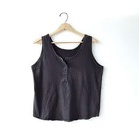 80s black cropped tank top with buttons down the front.