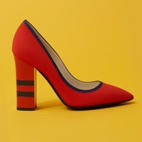 Pollini Pointed Toe Thick Striped Heel Pumps - WOMEN - JUST IN - Pollini - OPENING CEREMONY