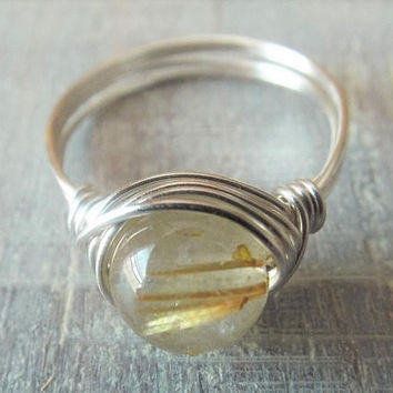 Rutilated Quartz Ring, Wire Wrapped Ring, Gold Quartz Ring, Sterling Silver Filled Ring, Cute Ring, Simple Ring, Unique Ring, Quartz Jewelry