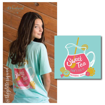 "Preppy Soft Cotton Southern Tee, "" If Sweet Tea Can't Fix It "" Limited Quantity / Soft Cotton Tee / Sweet Tea / Aqua Tee / Southern Bell"