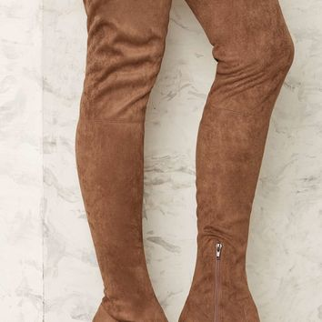 Nasty Gal Up and at 'Em Over-the-Knee Boot - Taupe