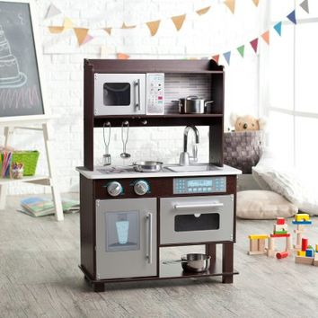 KidKraft Espresso Toddler Play Kitchen with Metal Accessory Set - 53281 - Play Kitchens at Hayneedle