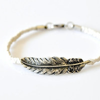 Feather Braided Bracelet - White