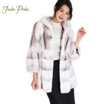 jade pride 2018 New Luxury With Fur Trim Hood Real Cross Mink Fur Coat Stripe Full Sleeve Fur Jacket Natural Velvet Mink Coats