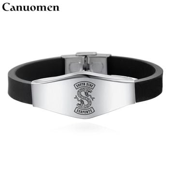 Canuomen Riverdale Bracelet Stainless Steel Logo Engraved Black Silicone Wristband Adjustable Punk Style Men Fashion Bracelets